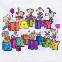 Szalvéta 2 rétegű 25x25cm 20db Happy Birthday gyerekes