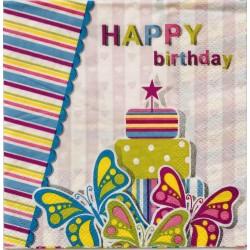 Szalvéta Happy Birthday lepkés 2 rétegű 20db 25x25cm