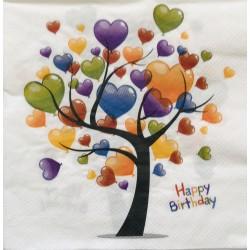 Szalvéta Happy Birthday szíves 2 rétegű 20db 33x33cm
