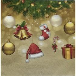 Szalvéta Karácsonyi Arany  2 rétegű 20db 33x33cm
