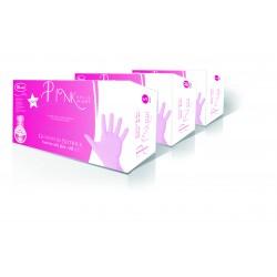 Festőkesztyű nitril púdermentes pink 100db (M)